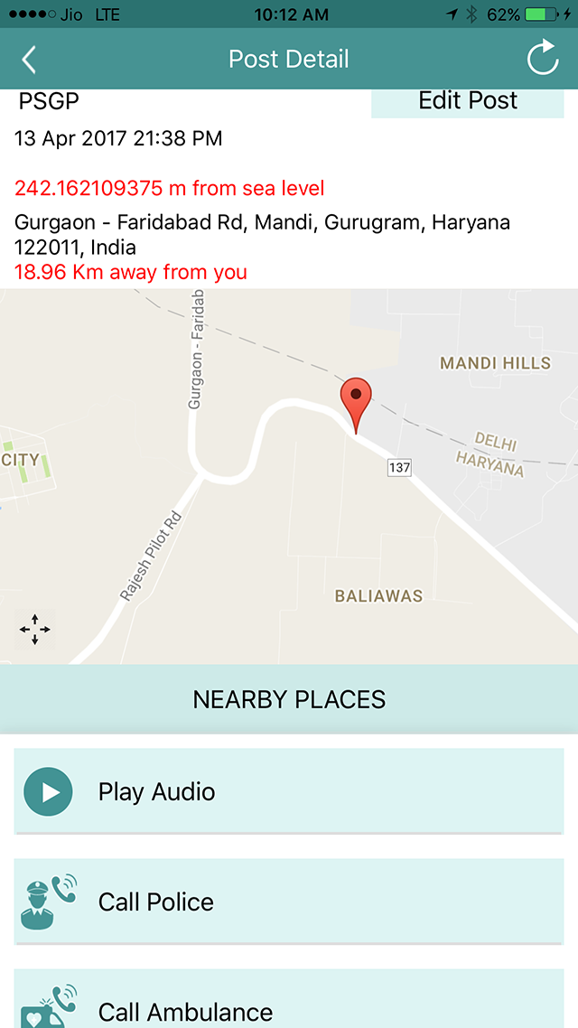 Personal Emergency Safety App Your Companion During Panic - My location sea level